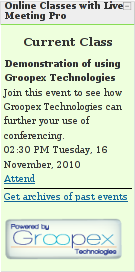 What students see when using Groopex Integrated Conferencing with Moodle and Microsoft Live Meeting