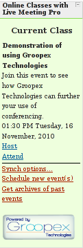 What teachers see when using Groopex Integrated Conferencing with Moodle and Microsoft Live Meeting