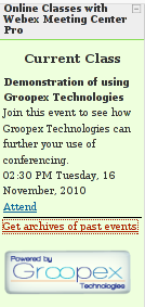 What students see when using Groopex Integrated Conferencing with Moodle and WebEx Meeting Center