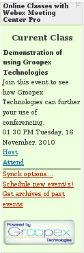 What teachers see when using Groopex Integrated Conferencing with Moodle and WebEx Meeting Center