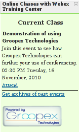 What students see when using Groopex Integrated Conferencing with Moodle and WebEx Training Center