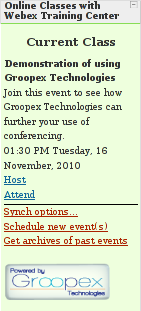 What teachers see when using Groopex Integrated Conferencing with Moodle and WebEx Training Center